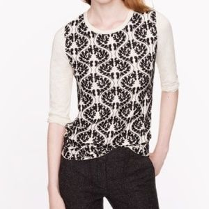 J. Crew Embroidered Applique Cotton Tee